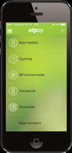 OTPay app működés közben